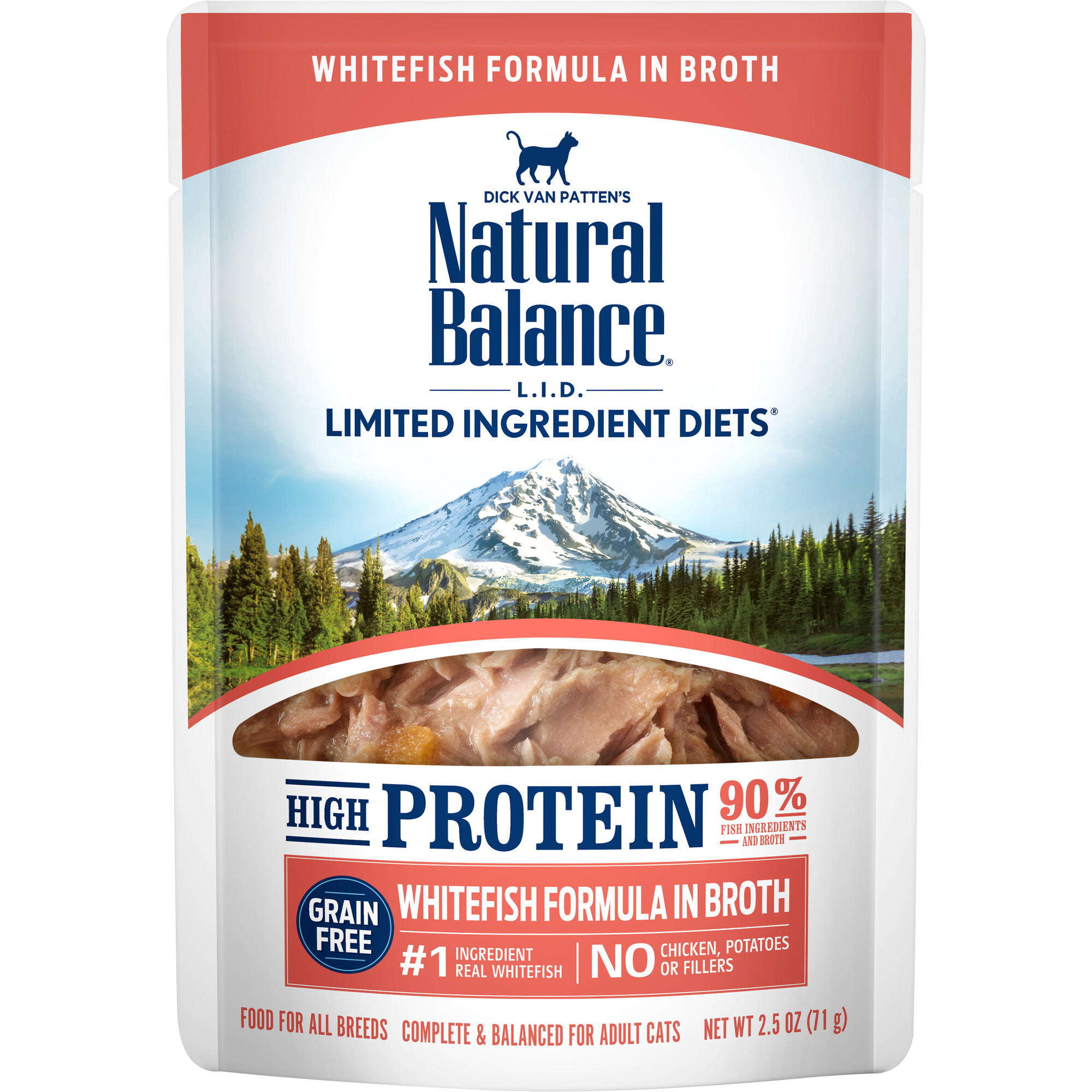 Natural Balance L.I.D. High Protein Whitefish Formula in Broth Wet Cat Food, 2.5-oz
