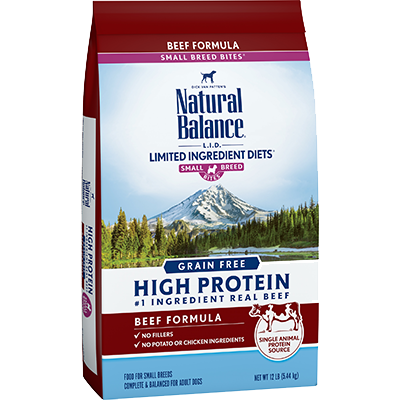 Natural Balance L.I.D. Limited Ingredient Diets High Protein Beef Formula Small Breed Bites Dry Dog Food, 12-lb