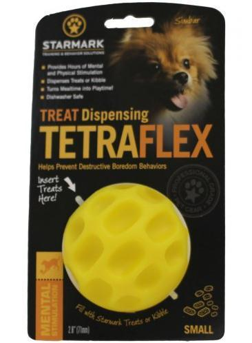 Starmark Treat Dispensing Tetraflex Dog Toy, Medium, 4-in
