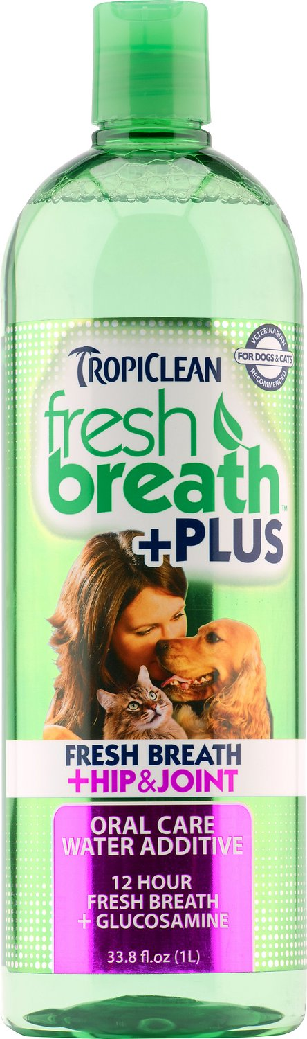 TropiClean Fresh Breath Water Additive + Plus Hip & Joint Dog & Cat Supplement Image