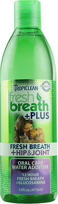 TropiClean Fresh Breath Water Additive + Plus Hip & Joint Dog & Cat Supplement, 16-oz bottle