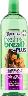 TropiClean Fresh Breath Water Additive + Plus Hip & Joint Dog & Cat Supplement
