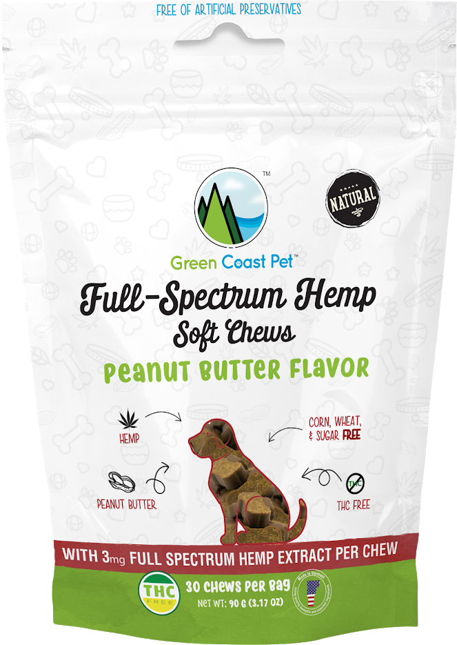 Green Coast Pet Full Spectrum Soft Chews for Dogs, Peanut Butter
