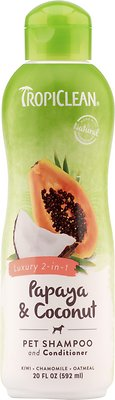 TropiClean Luxury 2 in 1 Papaya & Coconut Pet Shampoo and Conditioner, 20-oz bottle