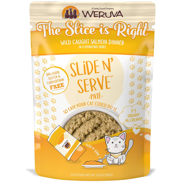 Weruva Cat Slide N' Serve Pate The Slice Is Right Salmon Wet Cat Food, 2.8-oz