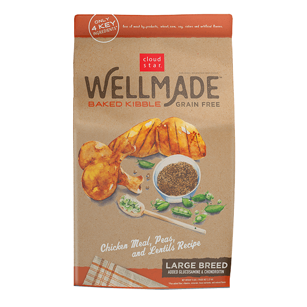 Cloudstar Wellmade Grain-Free Baked Kibble Chicken Meal, Peas & Lentils-Large Breed Dry Dog Food