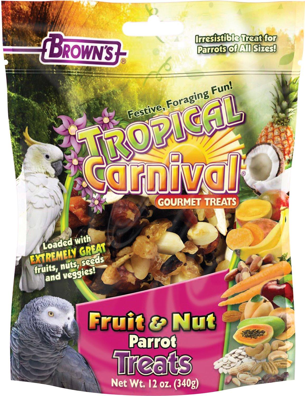 Brown's Tropical Carnival Fruit & Nut Parrot Bird Treats, 12-oz bag
