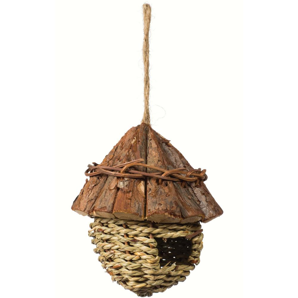Prevue Pet Products Small Bird Wood Roof Nest Hanging Bird Hideout