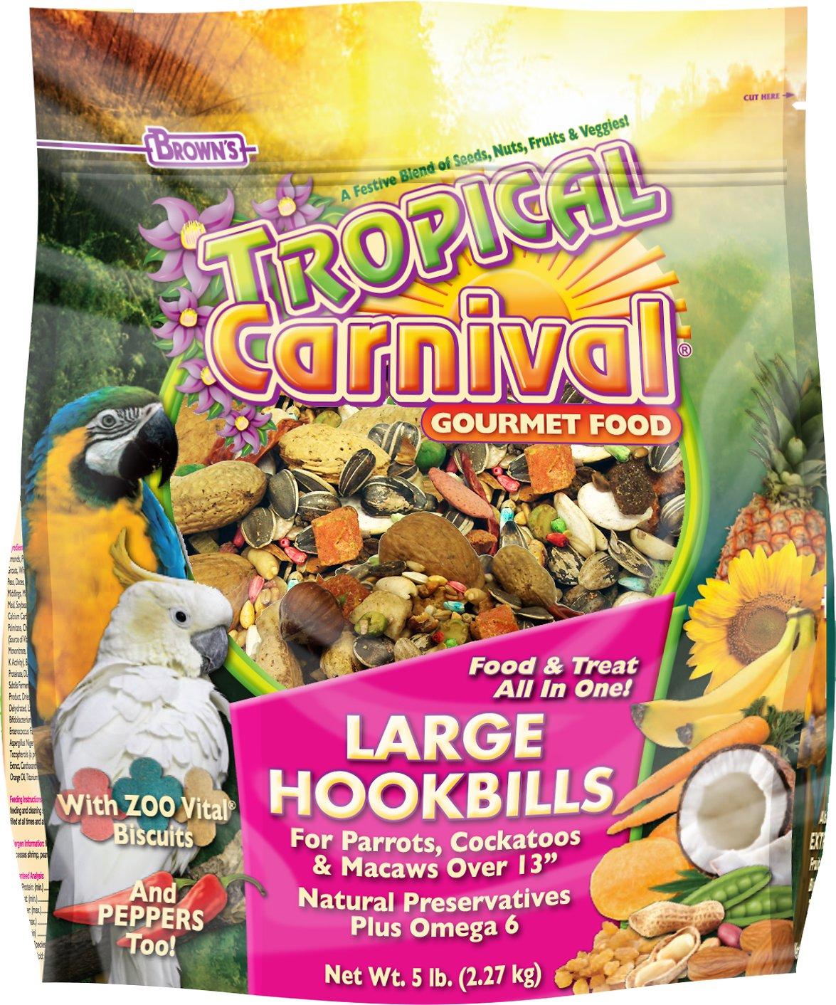 Brown's Tropical Carnival Biscuits Large Hookbill Bird Food, 5-lb bag
