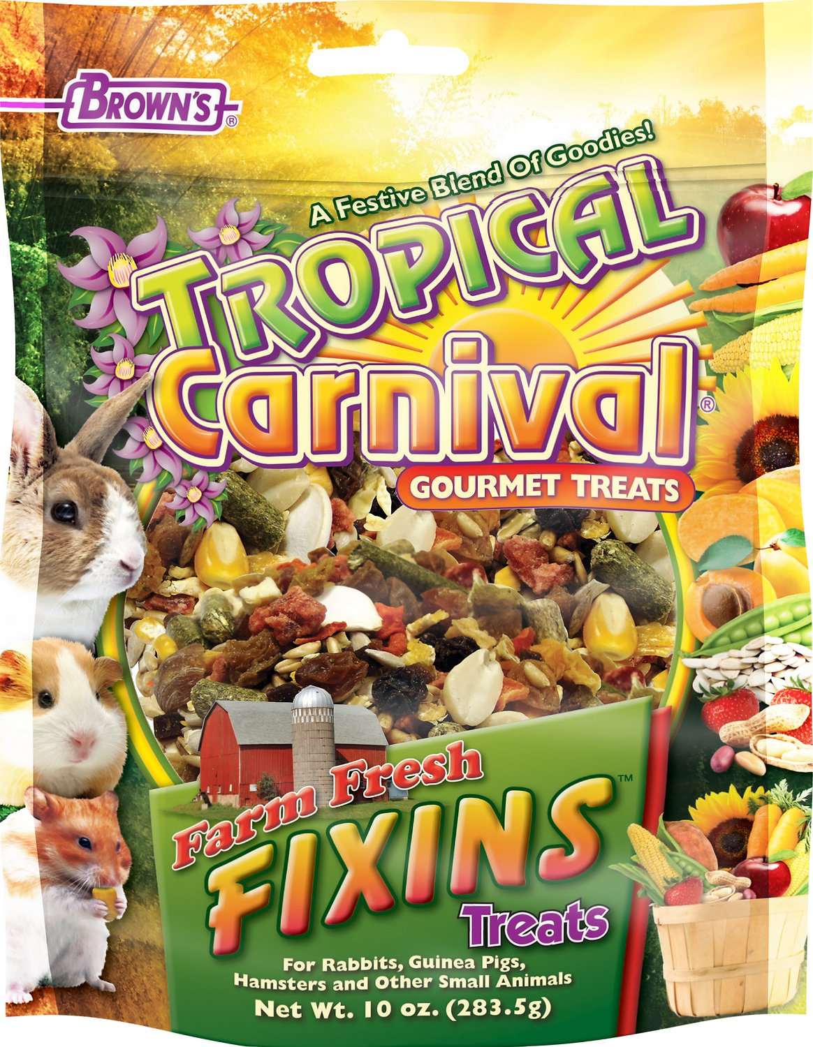 Brown's Tropical Carnival Farm Fresh Fixins Small Animal Treats, 10-oz bag