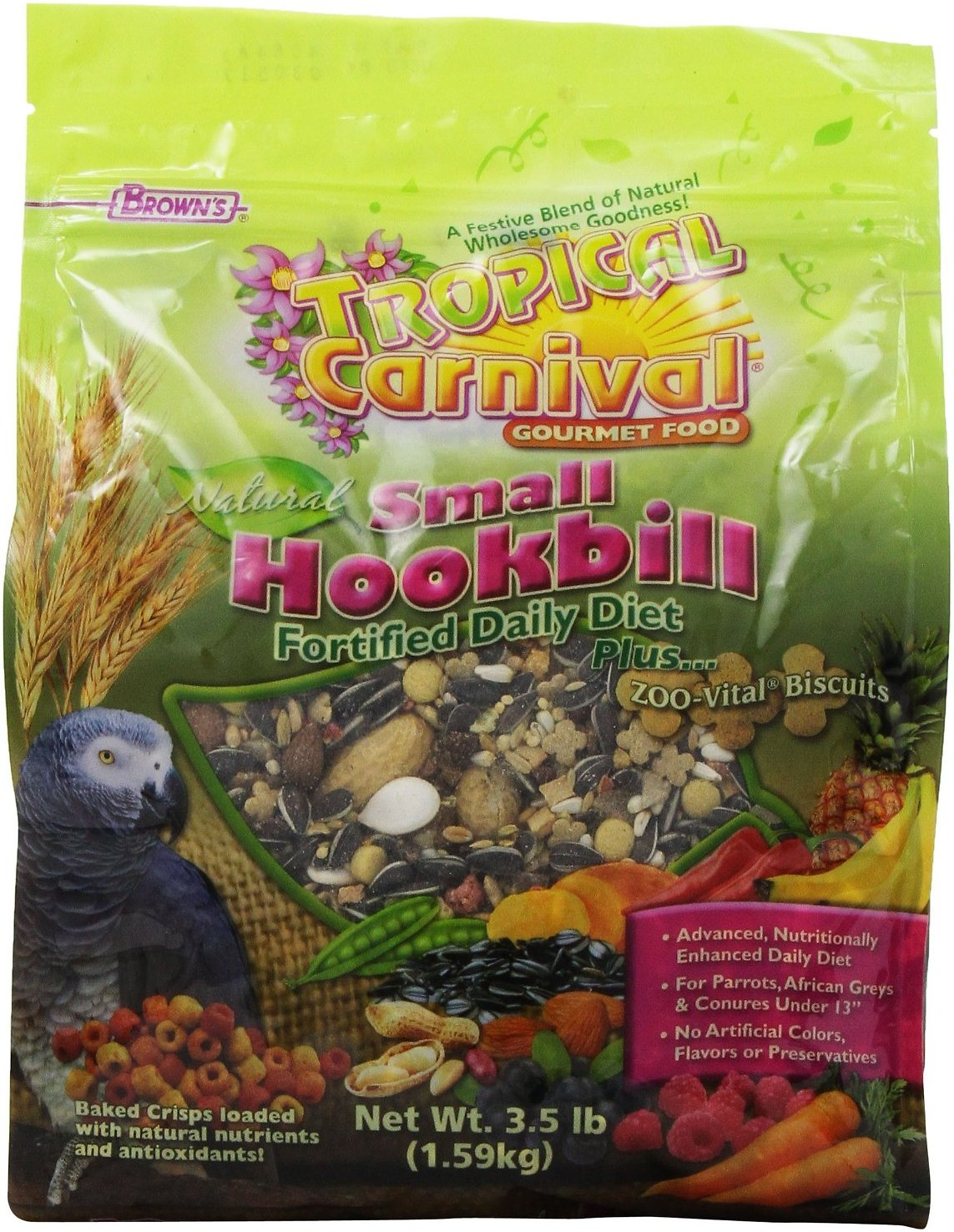 Brown's Tropical Carnival Natural Biscuits Small Hookbill Bird Food, 3.5-lb bag