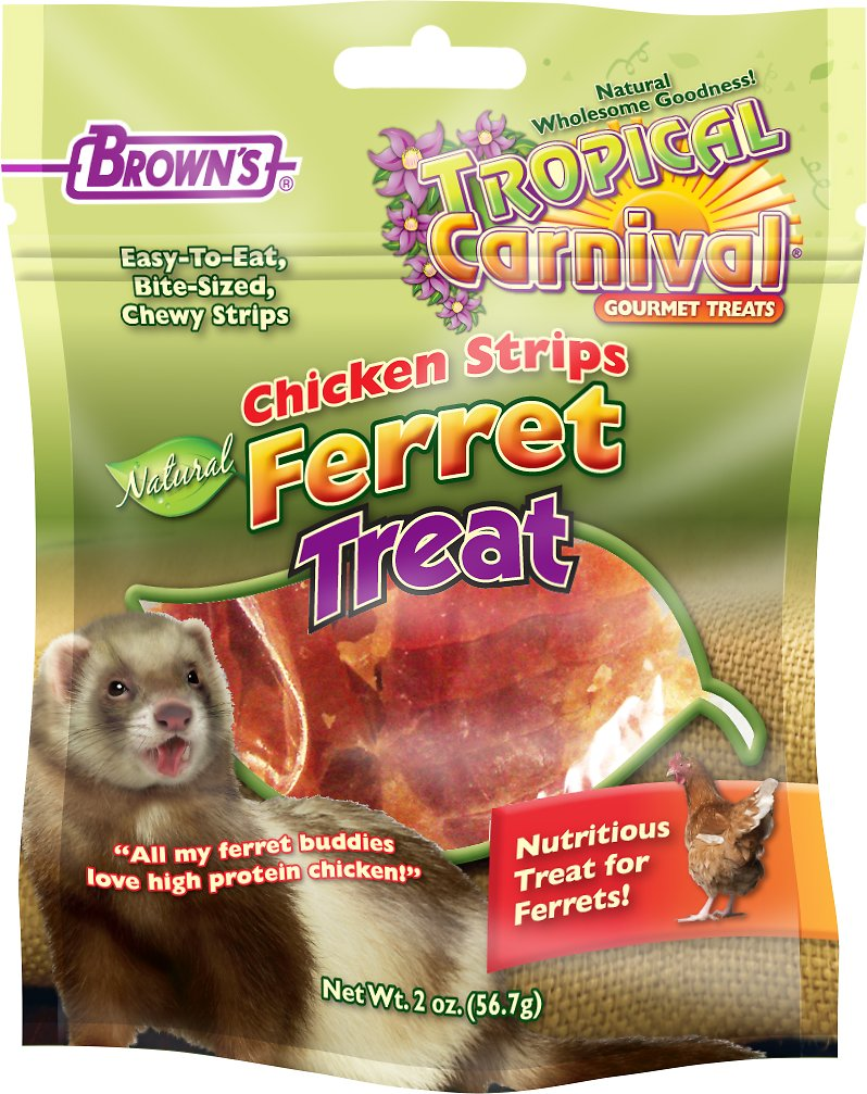 Brown's Tropical Carnival Chicken Strips Ferret Treats, 2-oz bag