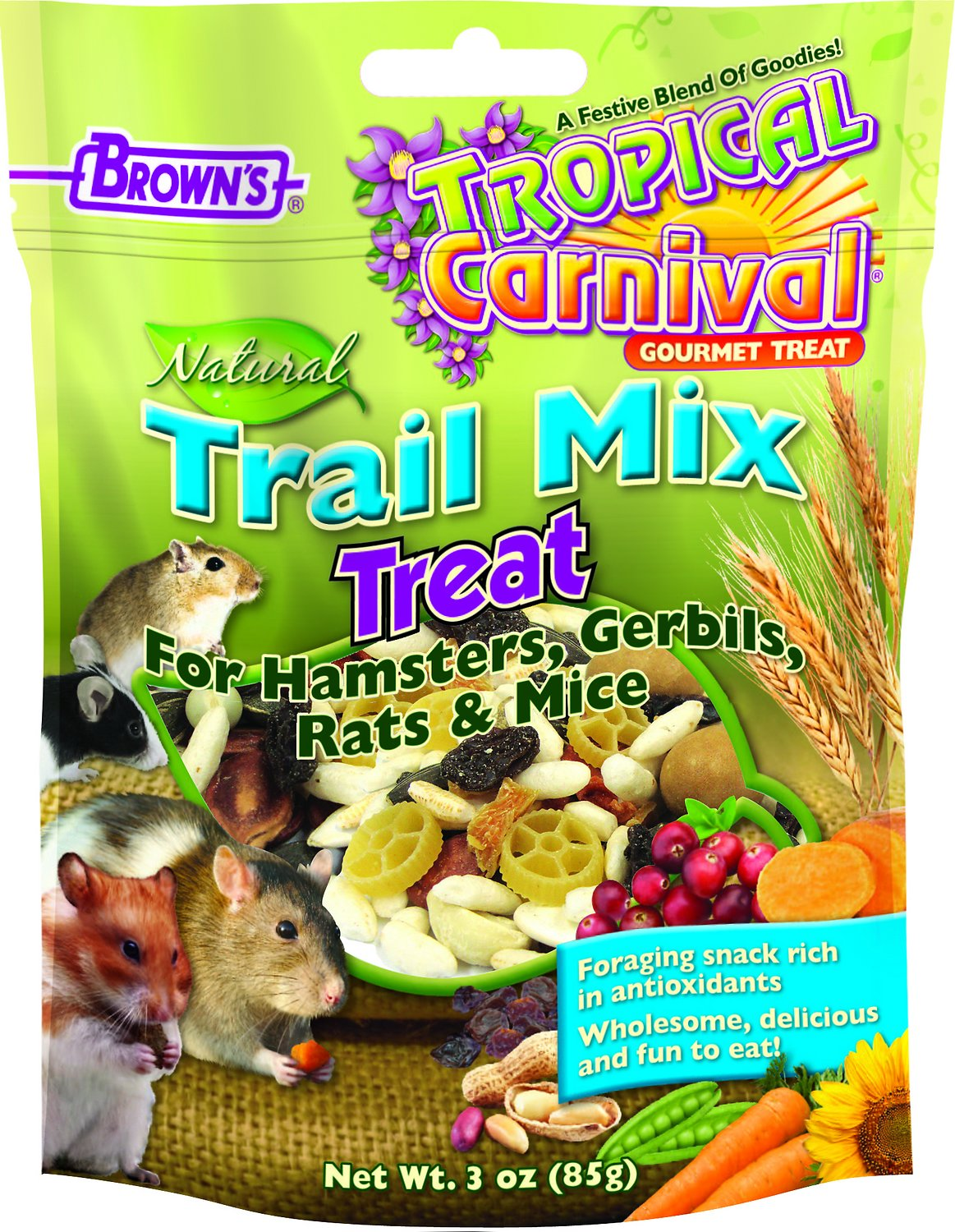 Brown's Tropical Carnival Trail Mix Small Animal Treats, 3-oz bag