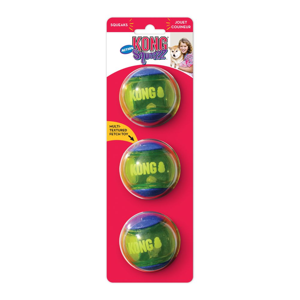 KONG Squeezz Action Ball Dog Toy, Blue, Small, 3-Pack