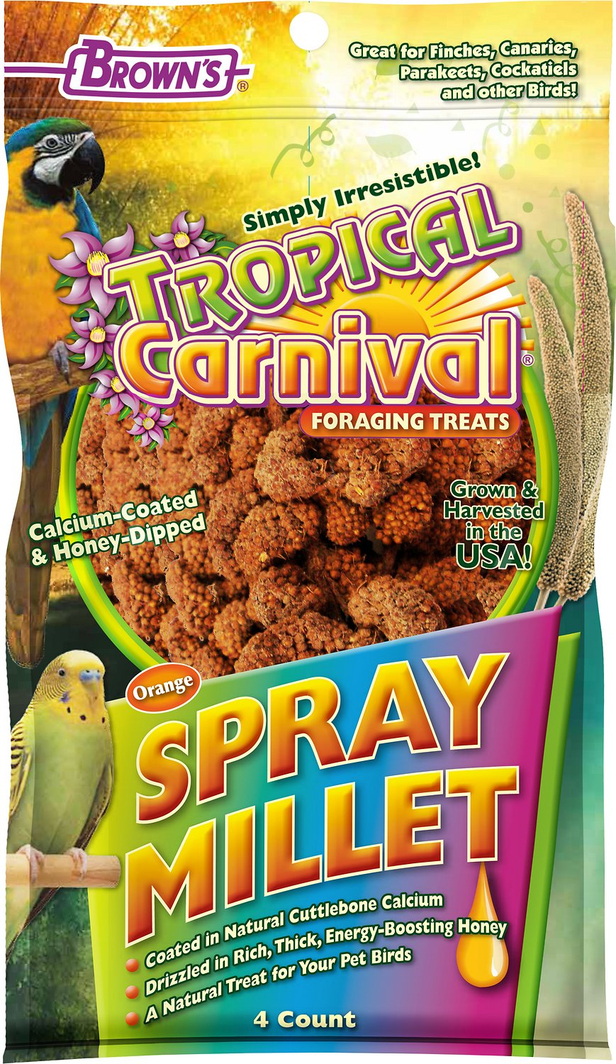 Brown's Tropical Carnival Calcium Coated & Honey Dipped Spray Millet Treats, 4 count