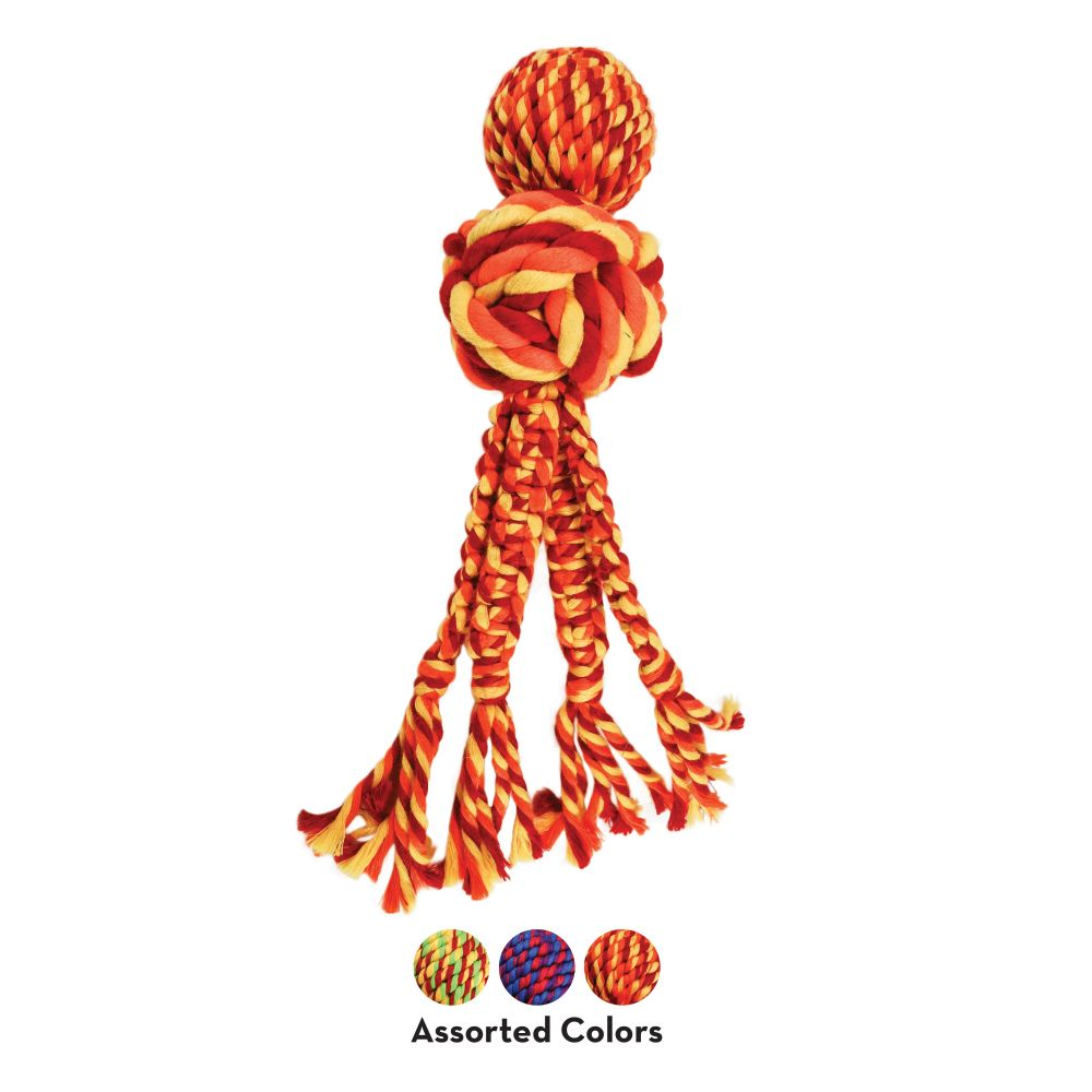 KONG Wubba Weaves with Rope Dog Toy, Color Varies, Small