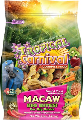 Brown's Tropical Carnival Big Bites with ZOO-Vital Biscuits Macaw Bird Food