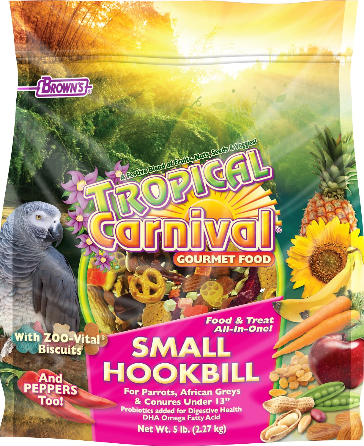 Brown's Tropical Carnival Biscuits Small Hookbill Bird Food, 5-lb bag