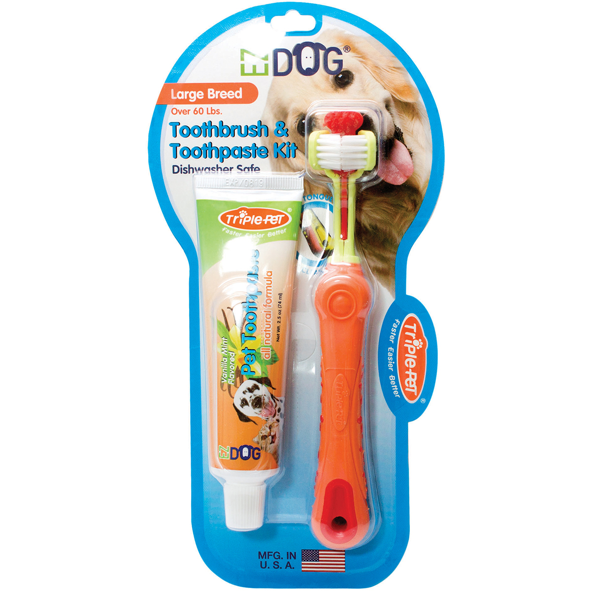 EZDOG Toothbrush and Toothpaste Kit for Large Breed Dogs