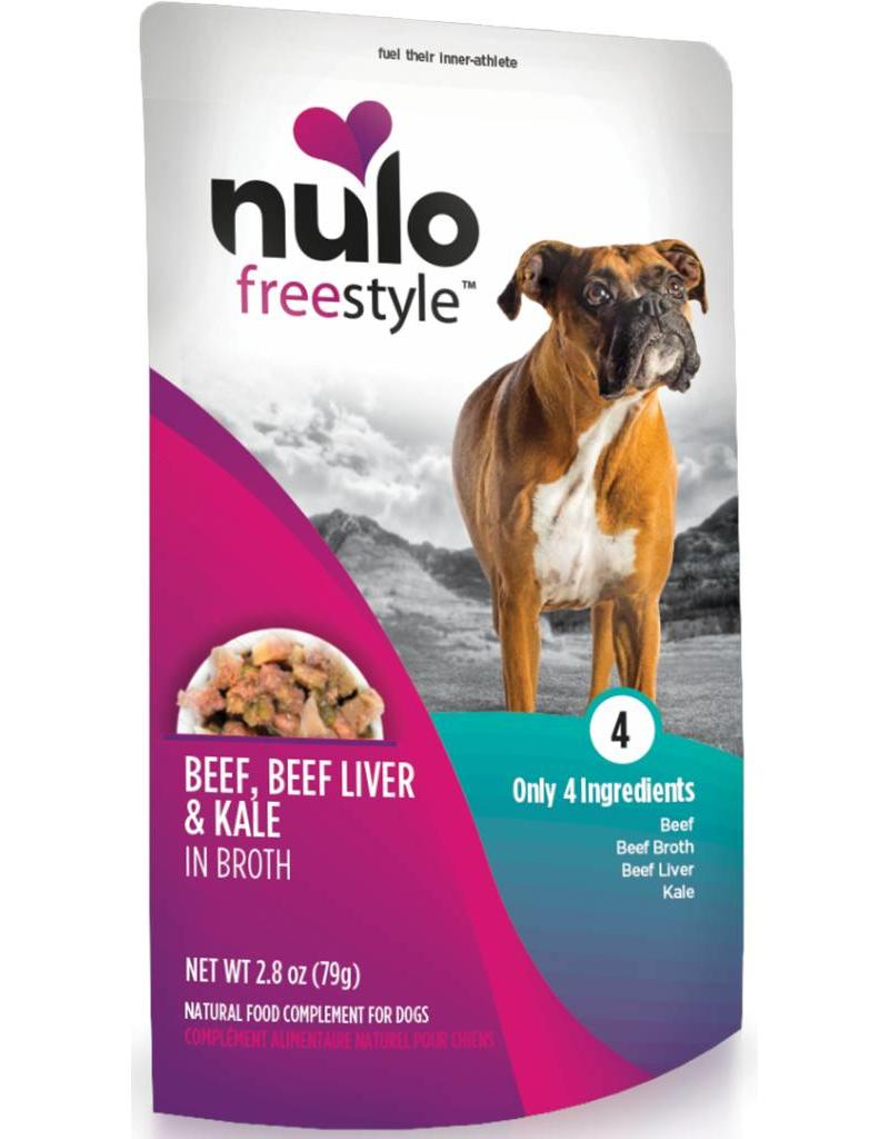 Nulo Dog Freestyle Pouch Beef, Beef Liver & Kale in Broth Grain-Free Dog Food Topper, 2.8-oz, case of 24