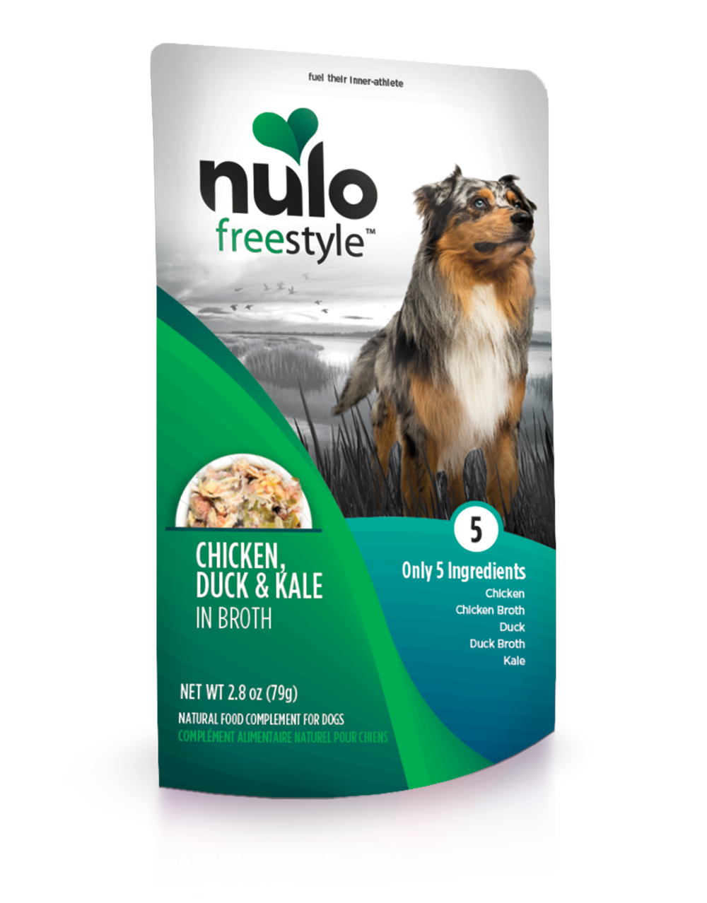 Nulo Dog Freestyle Pouch Chicken, Duck & Kale in Broth Grain-Free Dog Food Topper, 2.8-oz, case of 24