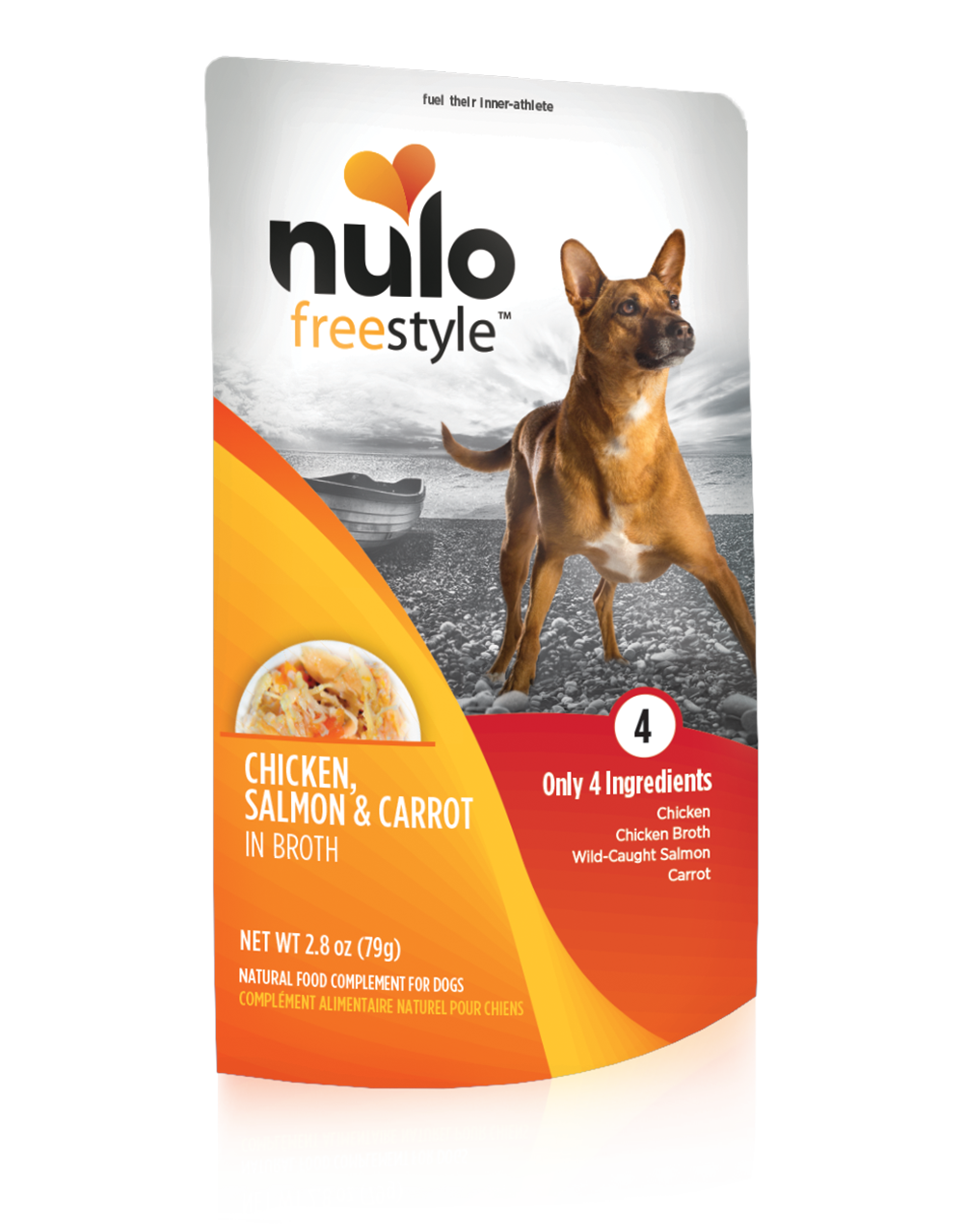 Nulo Dog Freestyle Pouch Chicken, Salmon & Carrot in Broth Grain-Free Dog Food Topper, 2.8-oz, case of 24