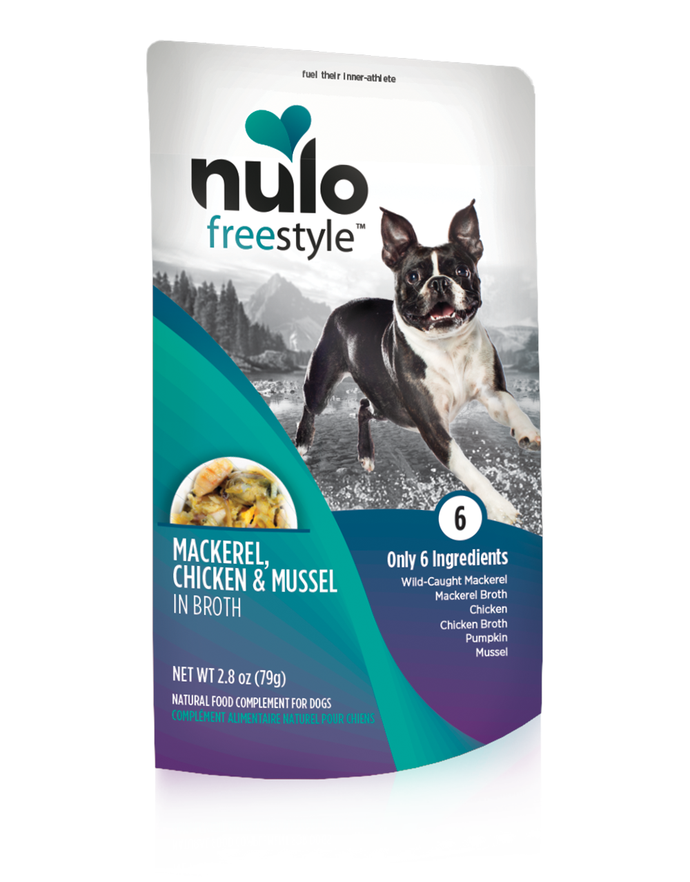 Nulo Dog Freestyle Pouch Mackerel, Chicken & Mussel in Broth Grain-Free Dog Food Topper, 2.8-oz, case of 24