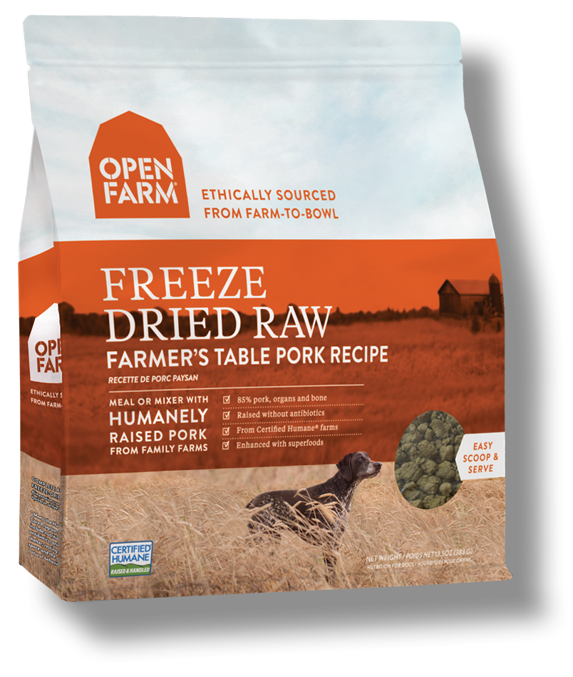 Open Farm Farmer's Table Pork Recipe Freeze Dried Raw Dog Food