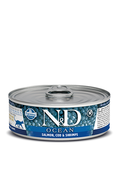 Farmina Natural & Delicious Ocean Salmon, Codfish & Shrimp Adult Cat Wet Food, 2.8-oz
