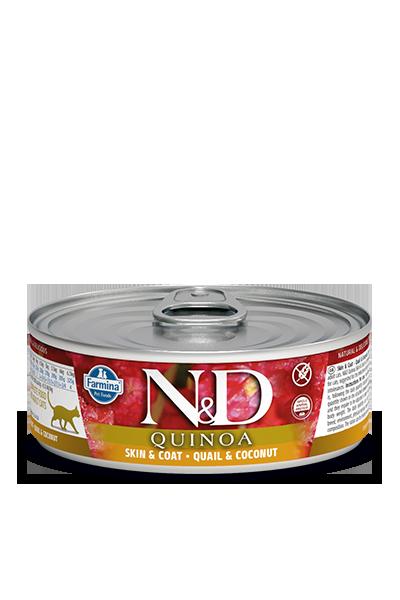 Farmina Natural & Delicious Quinoa Functional Feline Skin & Coat Quail Wet Food, 2.8-oz