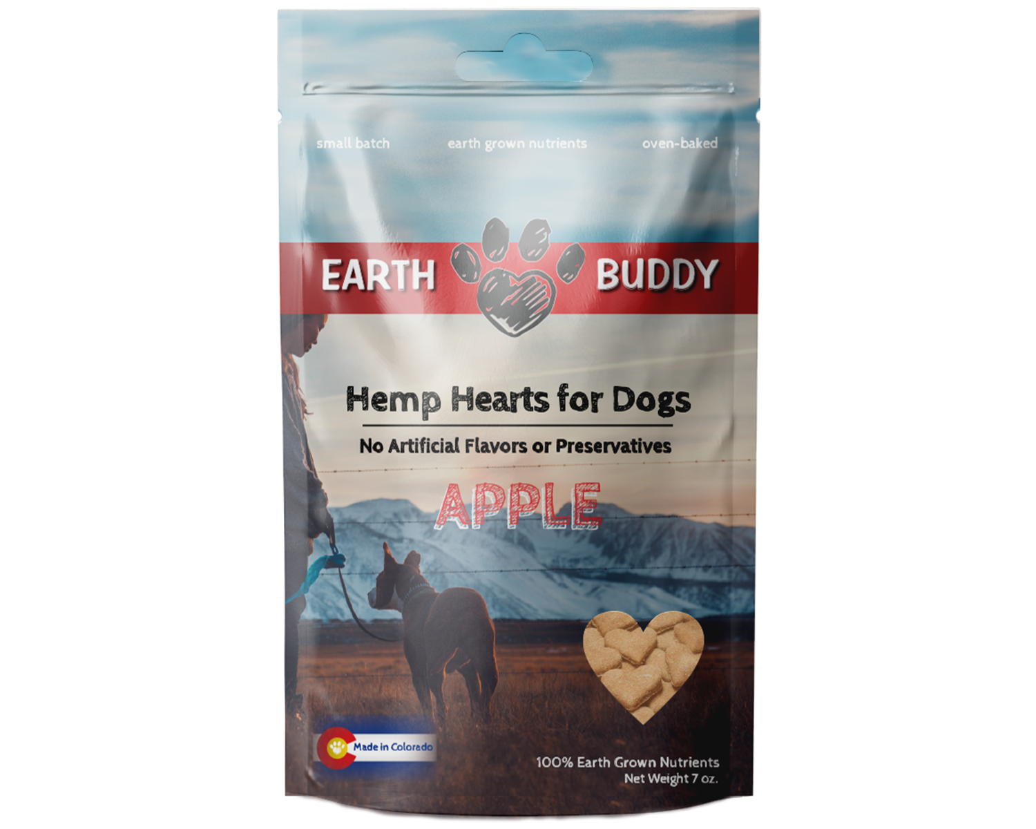 Earth Buddy Hearts for Dogs - Apple 2MG Size: 7-oz