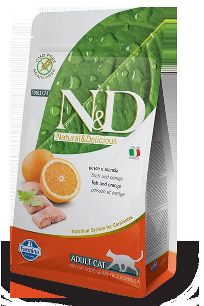 Farmina Natural & Delicious Prime Fish & Orange Formula Dry Cat Food, 3.3-lb
