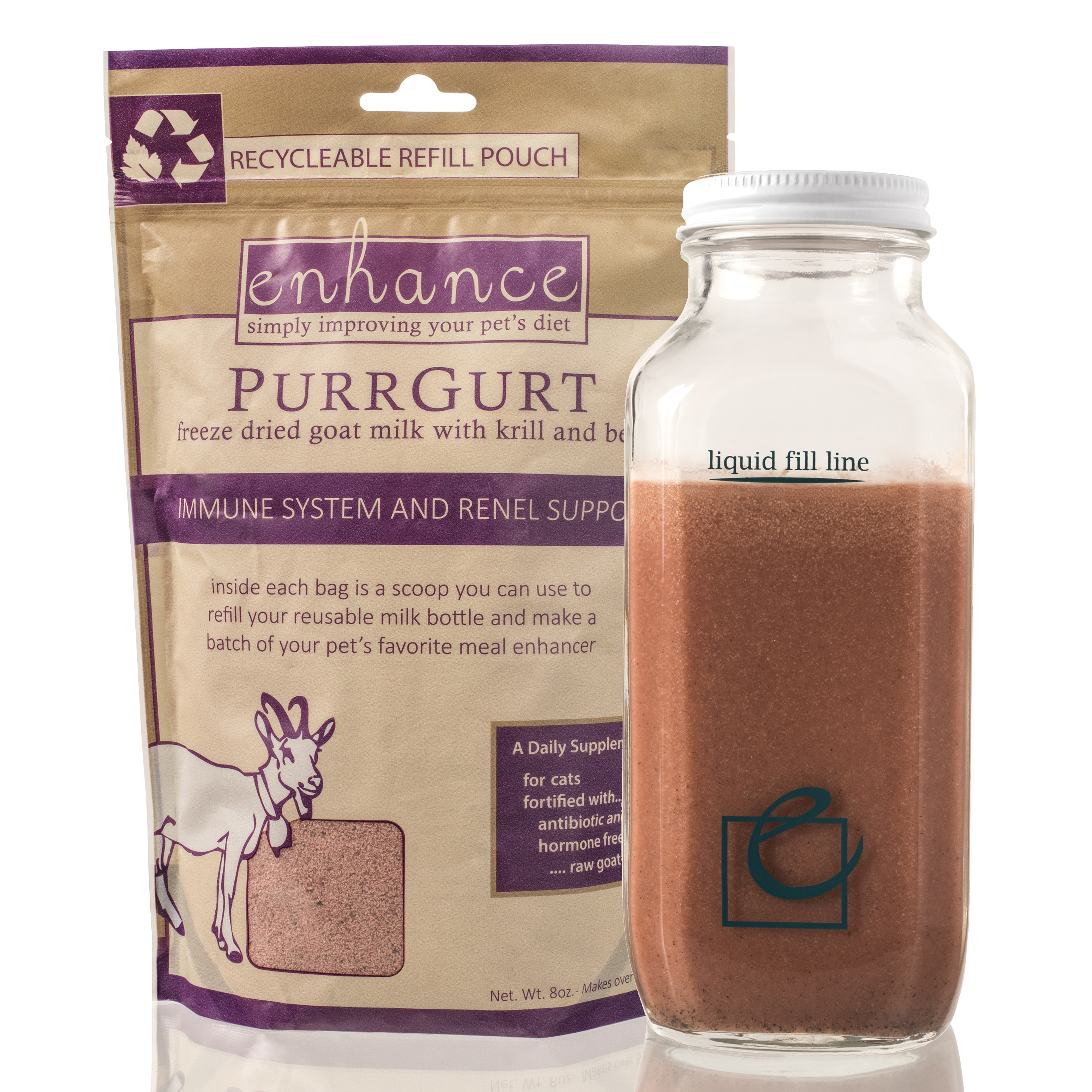 Steve's Real Food Enhance PurrGurt Immune and Renal Support, Refill