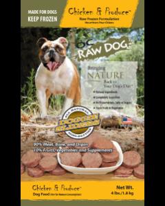 OC Raw Chicken & Produce Doggie Slider Bags Frozen Dog Food, 4-lb