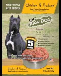 OC Raw Dog Chicken & Produce Bulk Bag Raw Frozen Dog Food, 5-lb