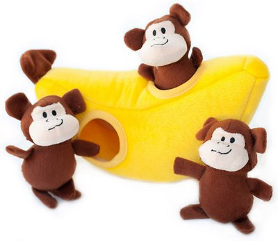 ZippyPaws Burrow Squeaky Hide and Seek Plush Dog Toy, Monkey 'n Banana