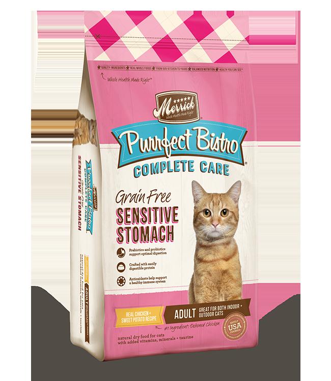 Merrick Purrfect Bistro Complete Care Grain Free Sensitive Stomach Recipe Dry Cat Food, 4-lb
