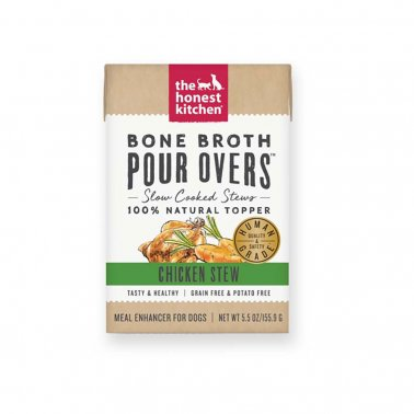The Honest Kitchen Pour Over Bone Broth Chicken Stew Topper Dog Food, 5.5-oz, case of 12
