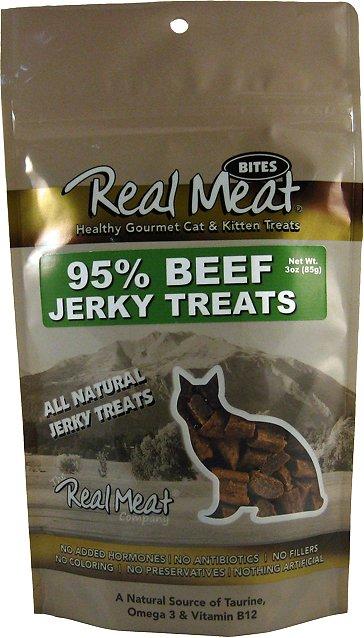 The Real Meat Company 95% Beef Jerky Bites Cat Treats, 3-oz bag