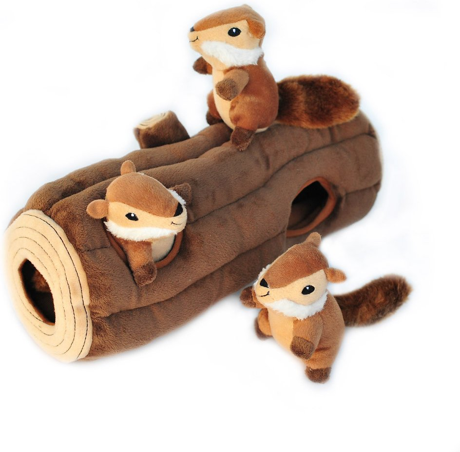 ZippyPaws Burrow Squeaky Hide and Seek Plush Dog Toy, Log & Chipmunks