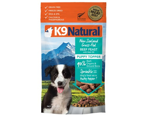 K9 Natural Puppy Beef Feast Grain-Free Freeze-Dried Dog Food Topper, 5-oz