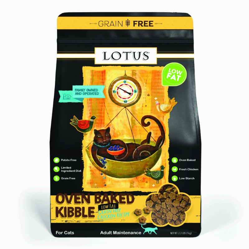 Lotus Low Fat Chicken Recipe Grain Free Oven Baked Dry Cat Food, 2.2-lb