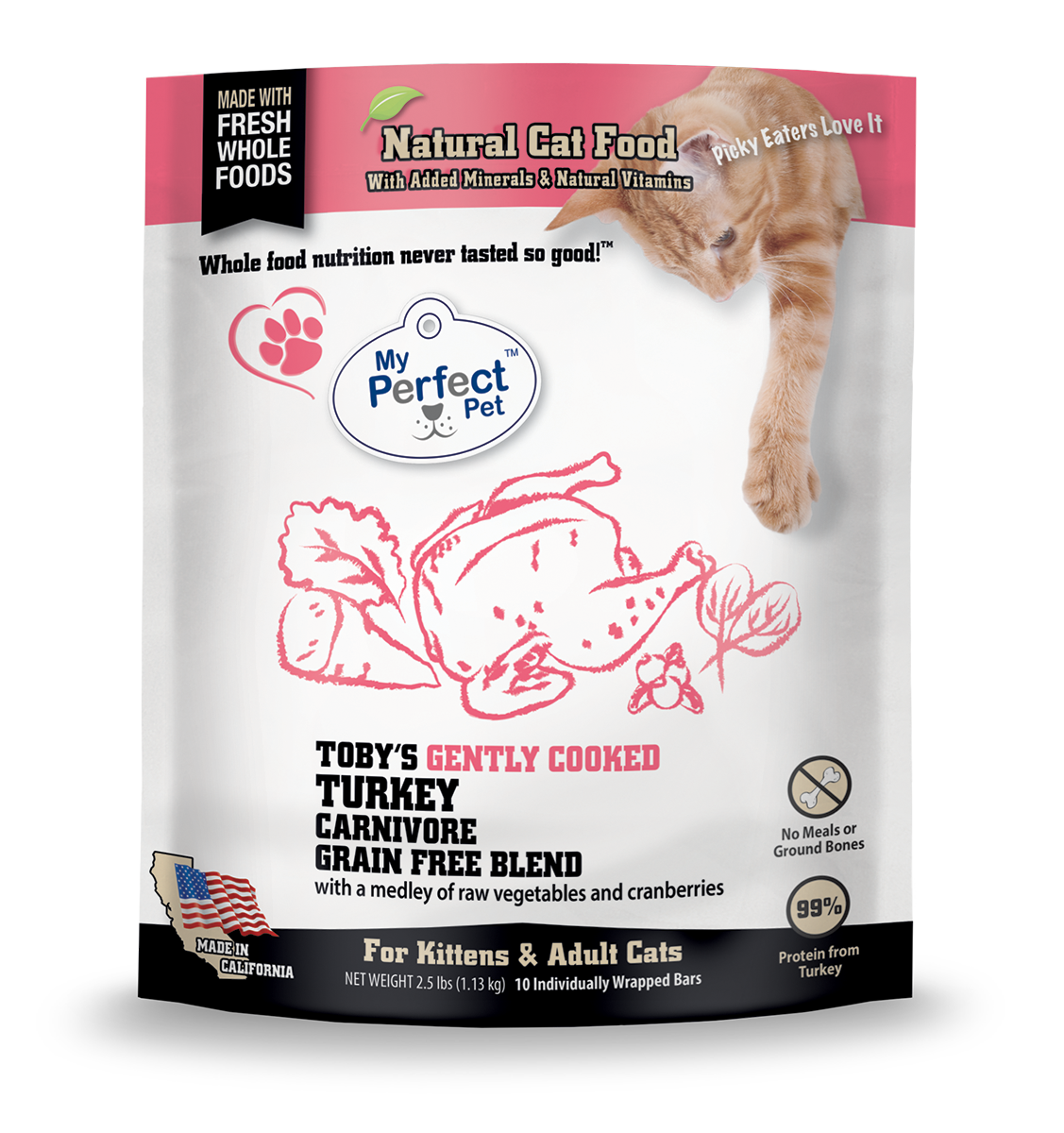 My Perfect Pet Carnivore Toby's Turkey Grain Free Lightly Cooked Frozen Cat Food
