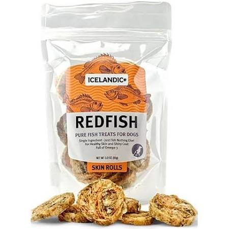 Icelandic+ Redfish Skin Roll Dog Treats, 3-oz bag