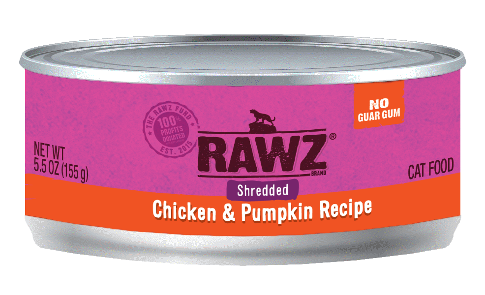 Rawz Chicken & Pumpkin Shredded Cat Can, 5.5-oz, case of 24