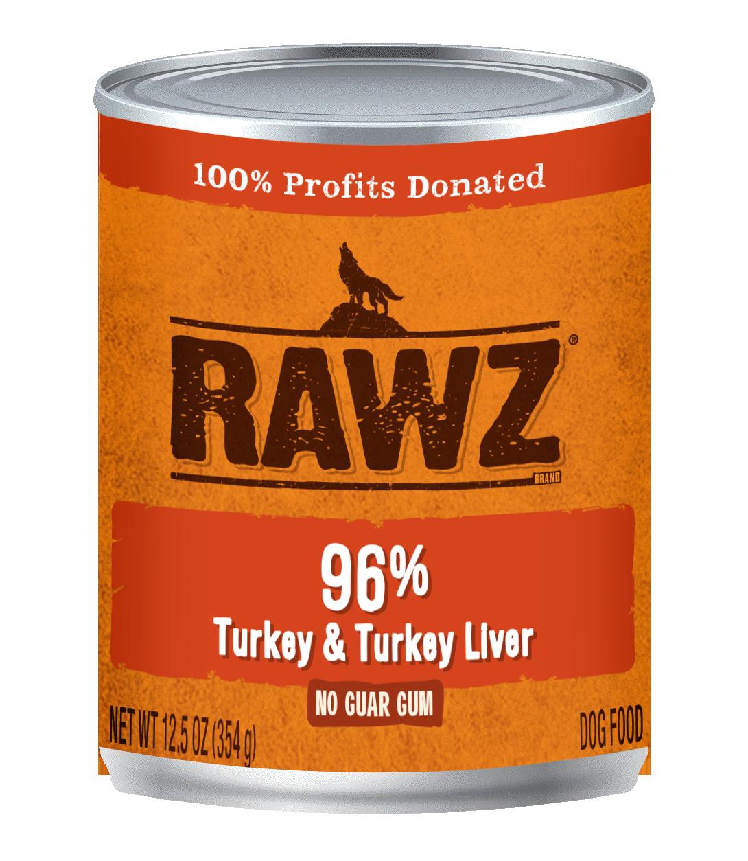 Rawz 96% Turkey & Turkey Liver Pate Dog Can