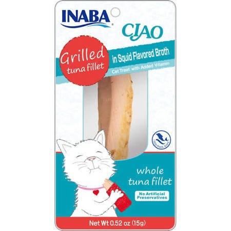 Inaba Ciao Grain-Free Grilled Tuna Fillet in Squid Flavored Broth Cat Treat