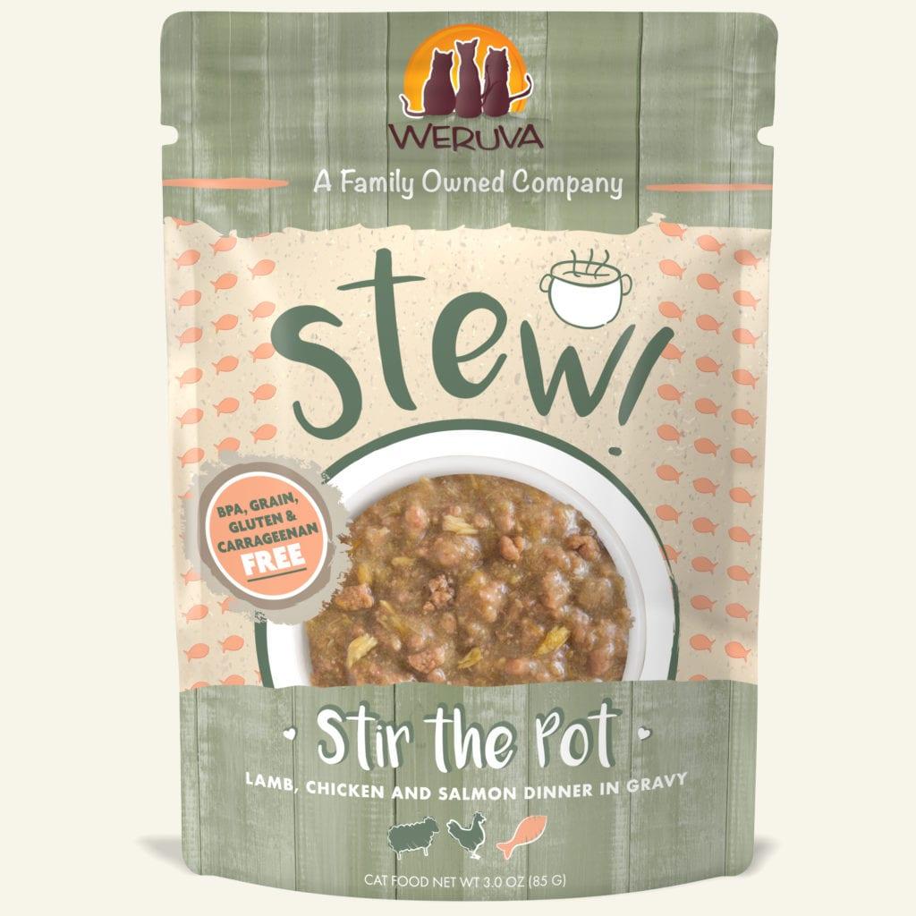 Weruva Cat Stew! Stir the Pot Lamb, Chicken & Salmon Dinner in Gravy Wet Cat Food, 3-oz
