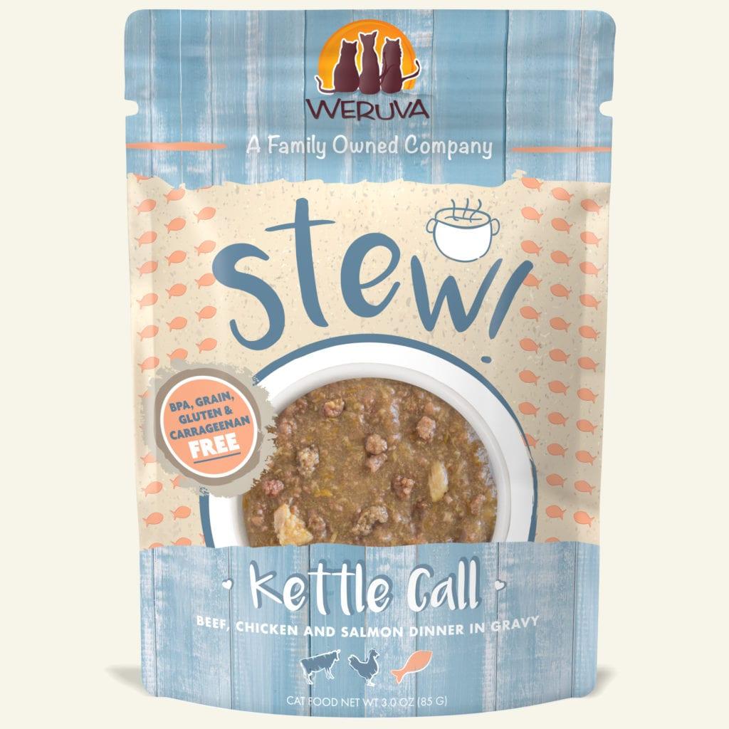 Weruva Cat Stew! Kettle Call Beef, Chicken & Salmon Dinner in Gravy Wet Cat Food, 3-oz