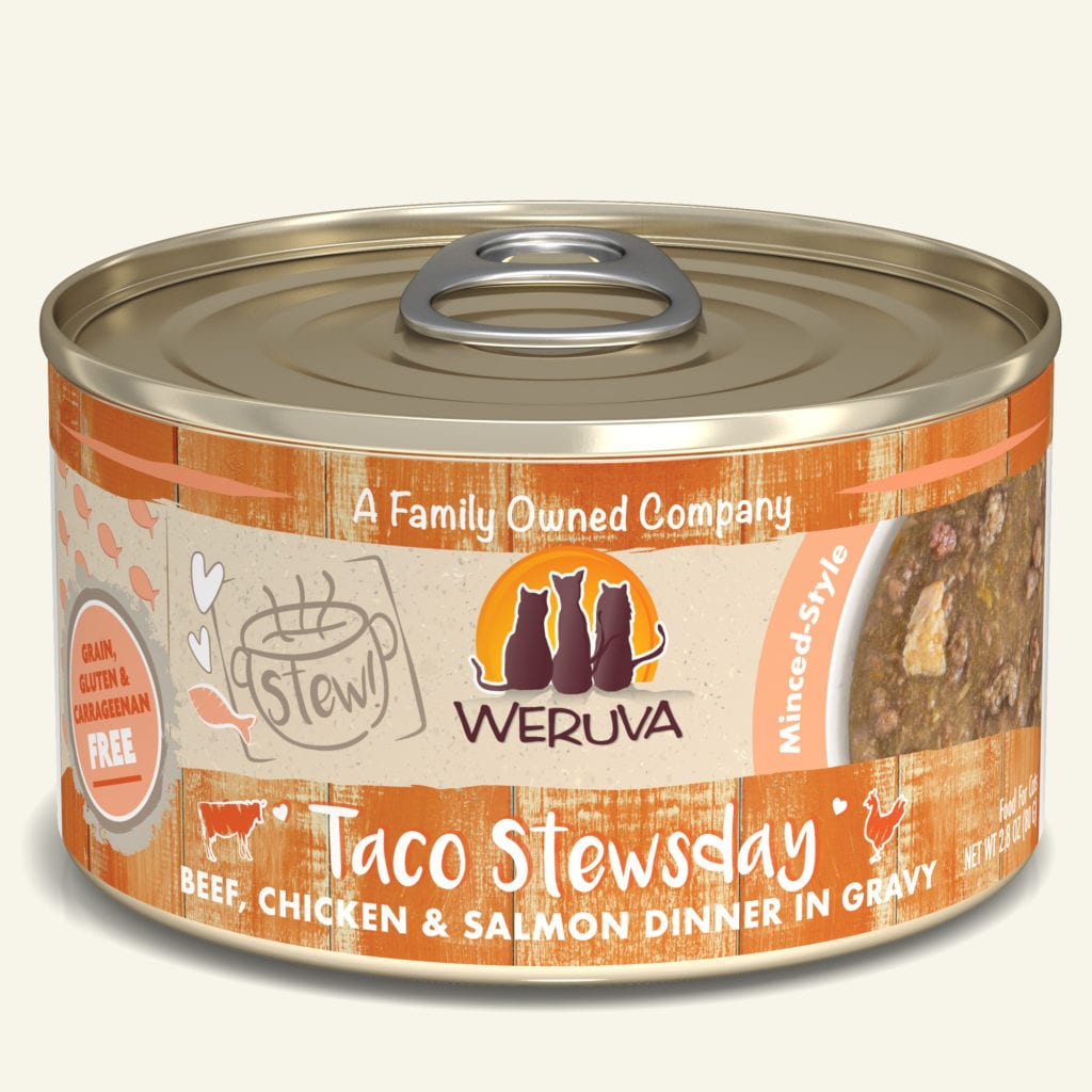 Weruva Cat Stew! Taco Stewsday Beef, Chicken & Salmon Dinner in Gravy Wet Cat Food, 5.5-oz